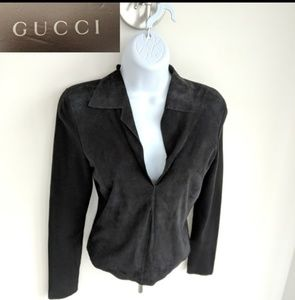GUCCI suede and knit v-neck top XS